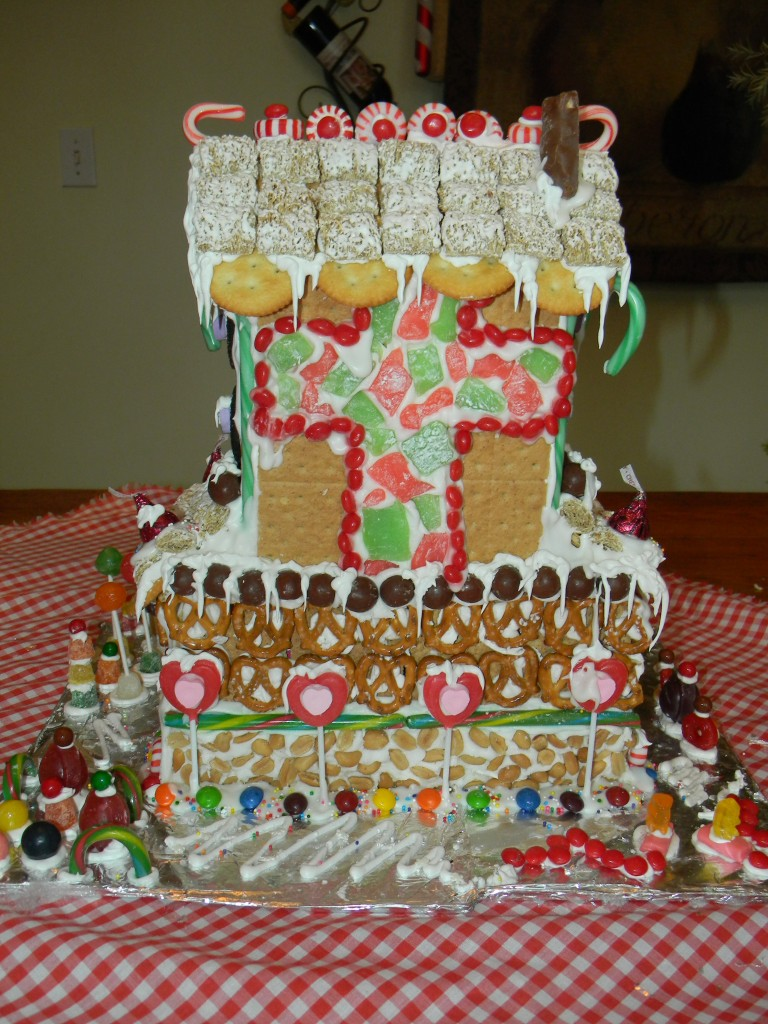 Large gingerbread house back