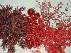 Recycled Christmas decorations for Valentine's Day