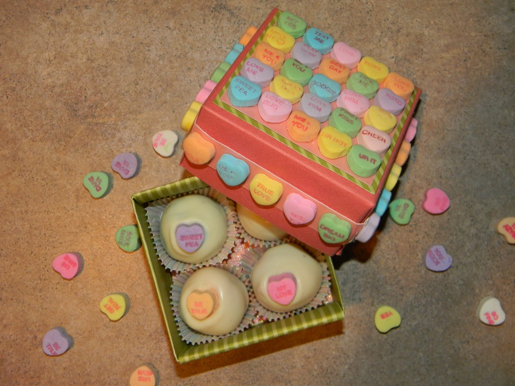Conversation Heart Gift Box with Fruity Cake Balls