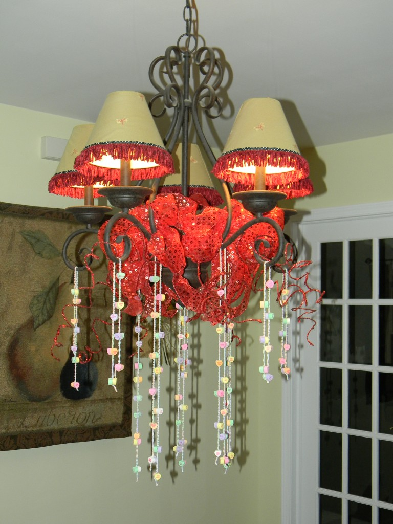 How to Decorate your chandelier for Valentine's Day