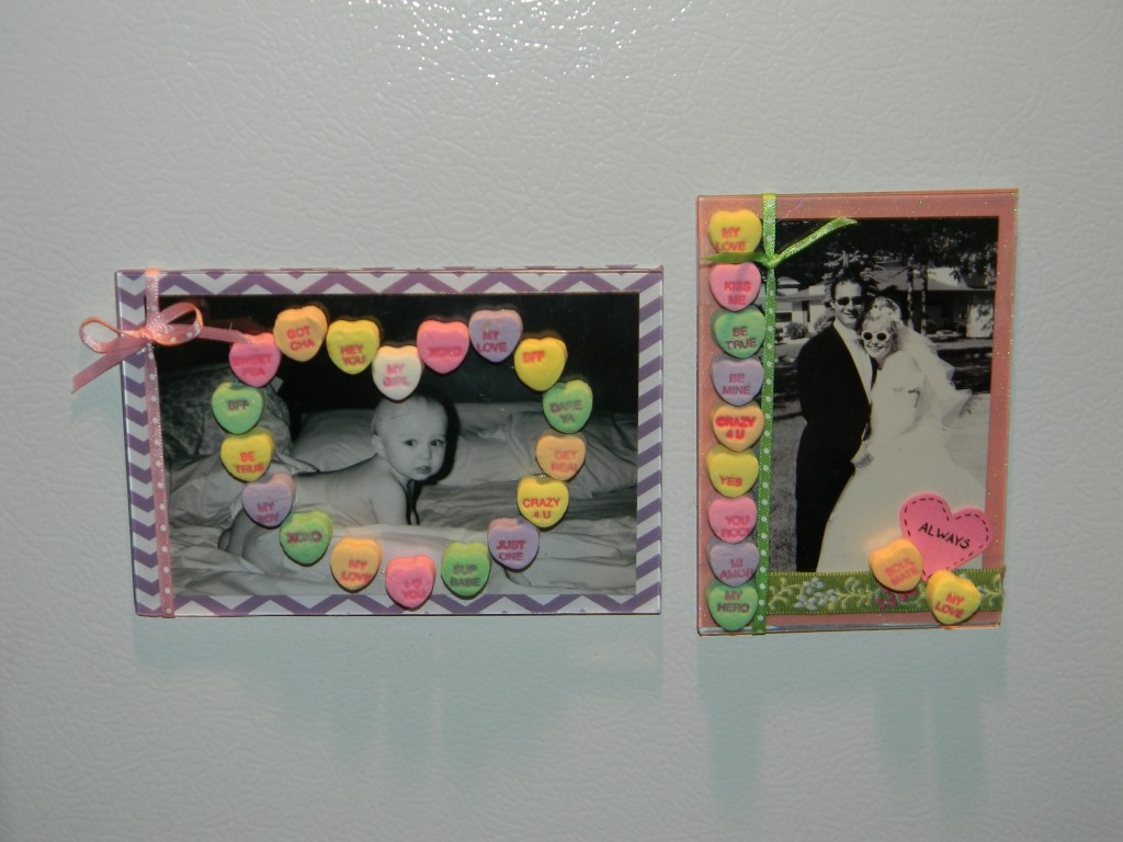 Conversation heart crafts- magnet frames