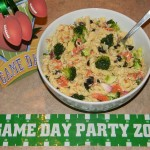 game day foods, game day food, pasta salad
