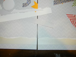 Whimsical Winter Scrapbook pages, lining up snow
