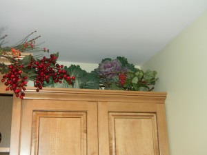 Decorating above Kitchen Cabinets, adding cabbages