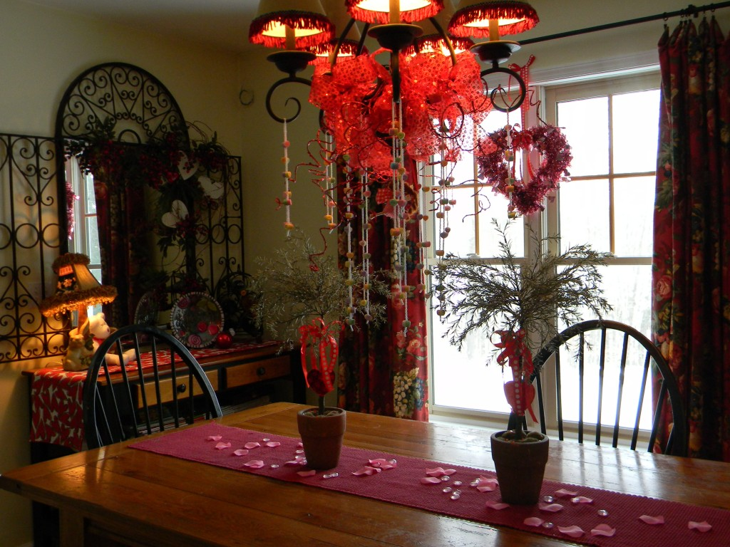 Valentine Decorations-dining room chandelier and table