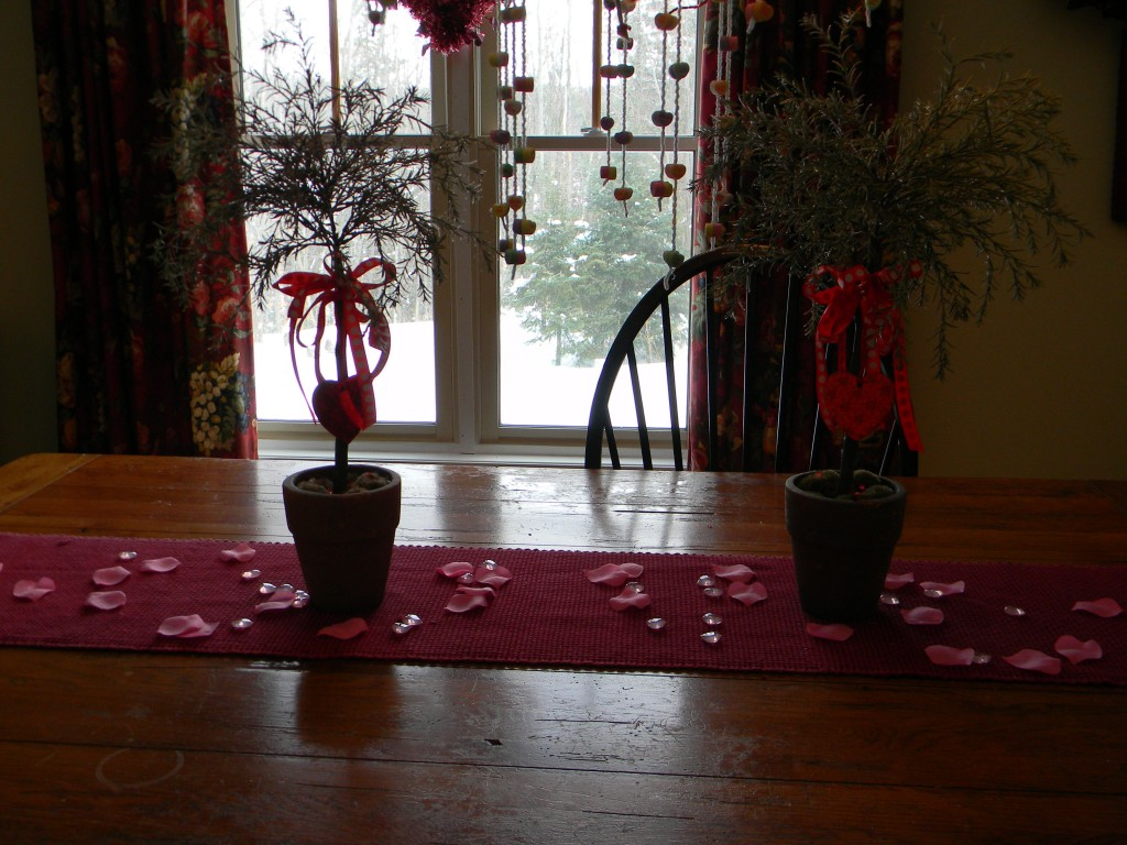 Valentine Decorations, dining room table