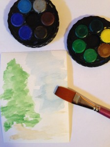 Rubber Stamped Card, Watercolor Inspiring Tree Scene