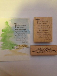 Rubber Stamped Card - watercolor inspiring tree scene