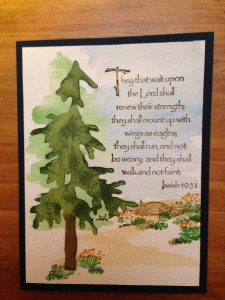 Rubber Stamped Card - Water Color Tree Scene