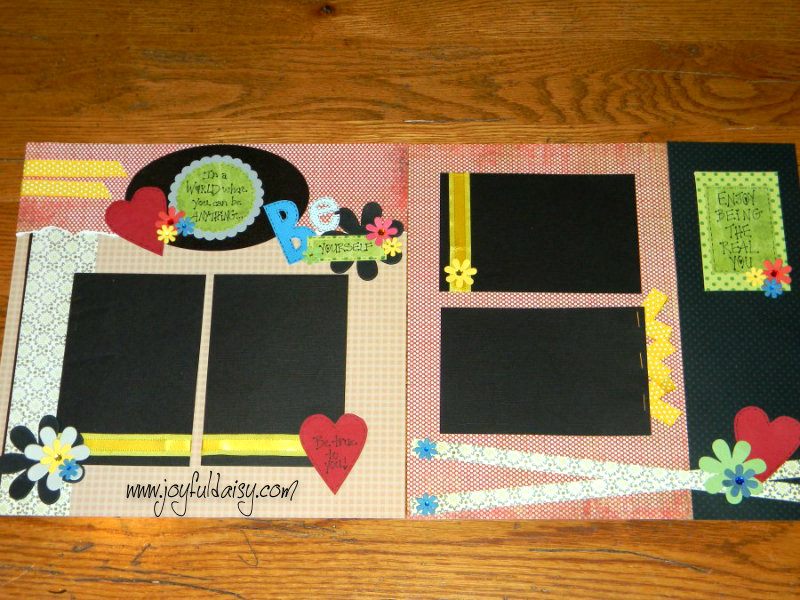 Be Yourself Heart Scrapbook Layout