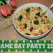 game day pasta salad, tailgating foods, super bowl foods, pasta salad,salad