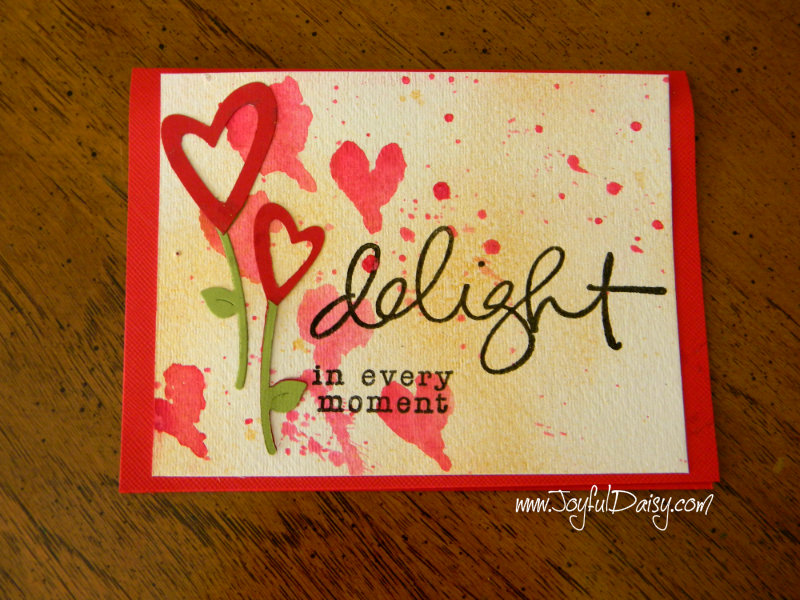 watercolor heart rubber stamped handmade card