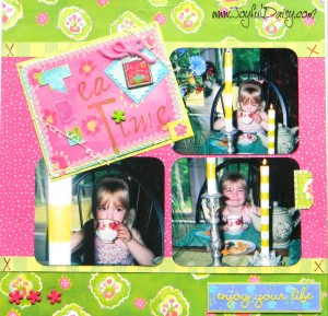 tea party scrapbook ideas, tea scrapbook layout, tea time, scrapbooking