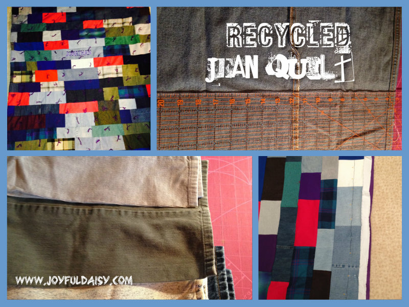 Recycled jean quilt collage