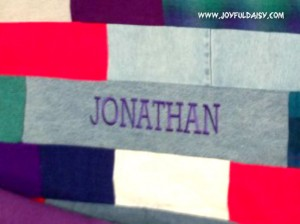 recycled jean quilt personalize
