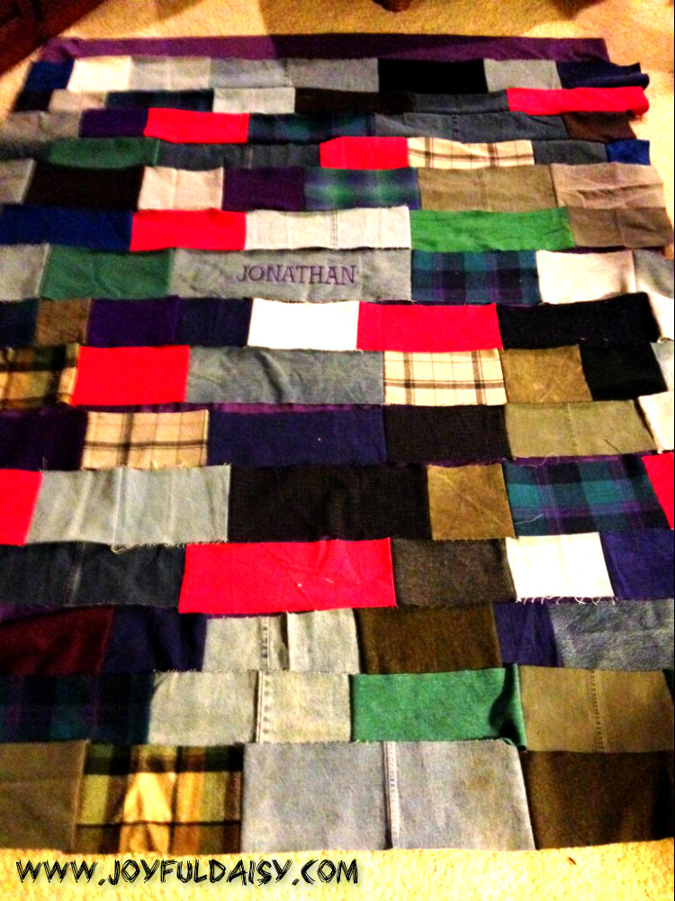 recycled jean quilt, layout strips