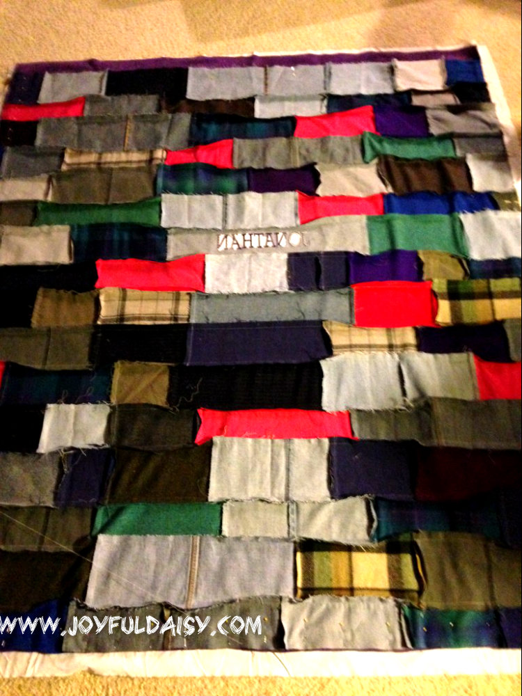 recycled jean quilt layout strips