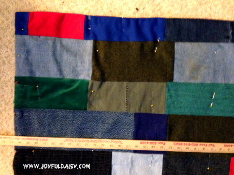 recycled jean quilt measure pins
