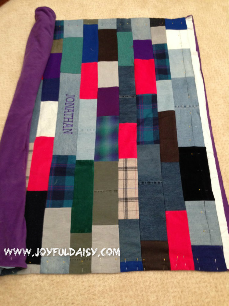 recycled jean quilt, stitching top