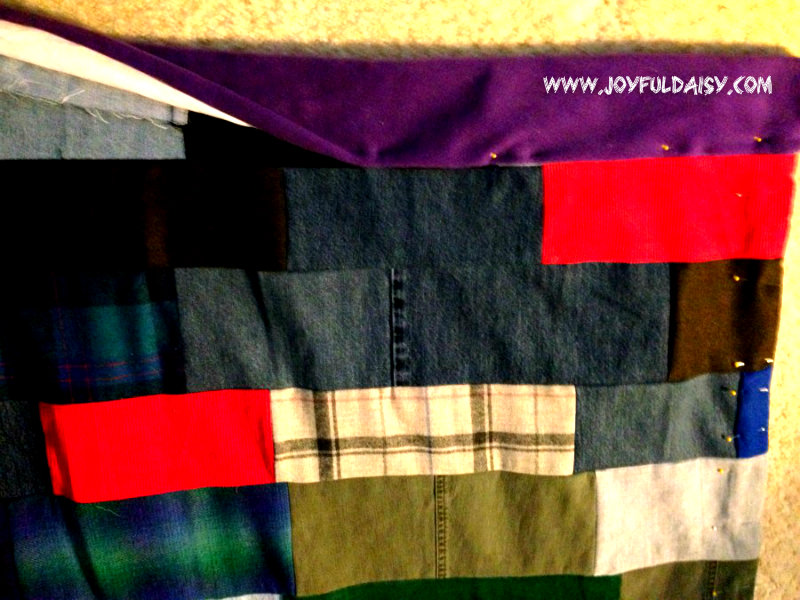 recycled jean quilt stitch fleece top