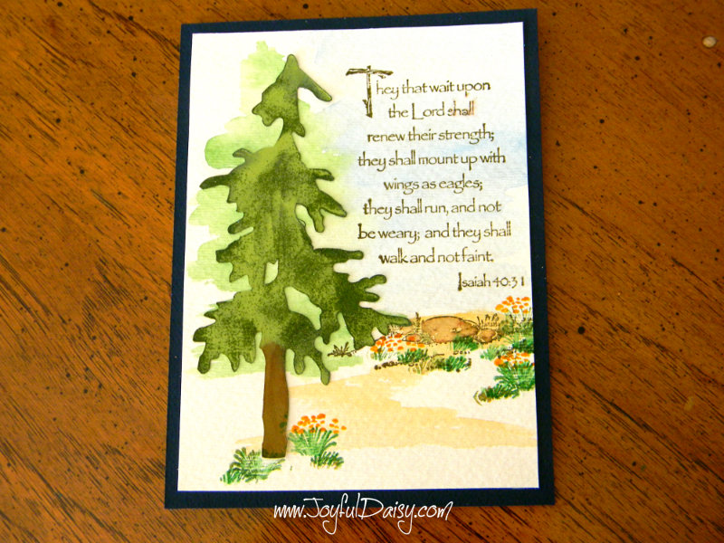 watercolor rubber stamped handmade card