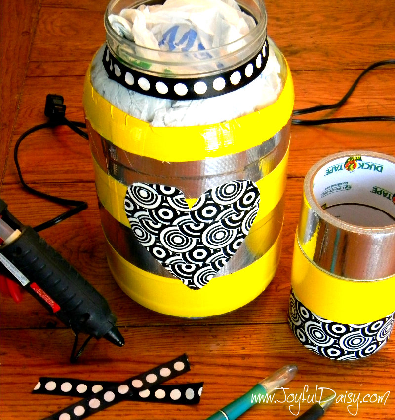 duck tape bag holder and supplies