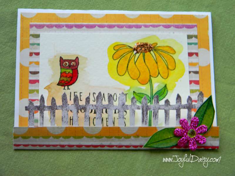picket fence watercolor card