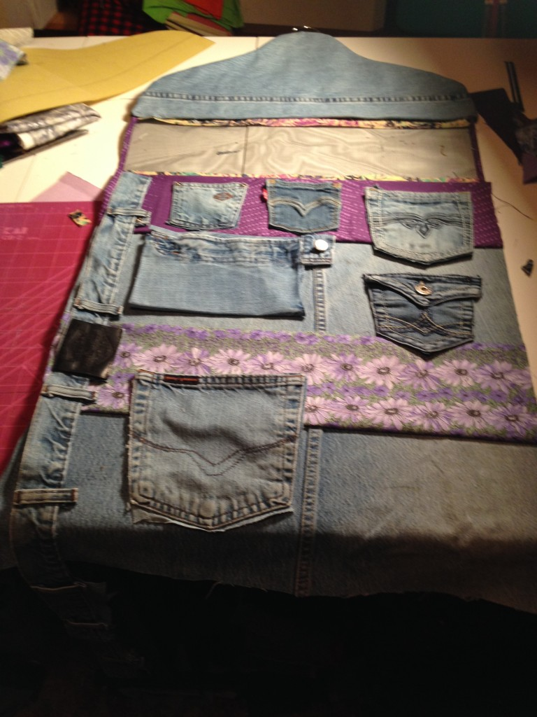Recycled Jean Pocket layout for Accessory Organizer