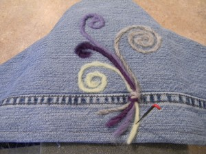 Recyceld Jean Hanger Cover with felting decorations for accessory organizer