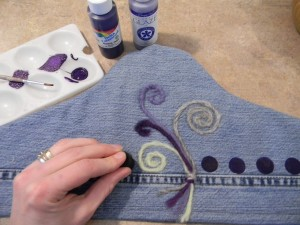 Stamping on Recycled Jean Hanger Cover for Accessory Organzier