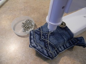 Bedazzling Recycled Jean Pockets for Accessory Organizer