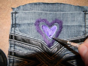 Stamping on Recycled Jean pockets for Accessory Organzier