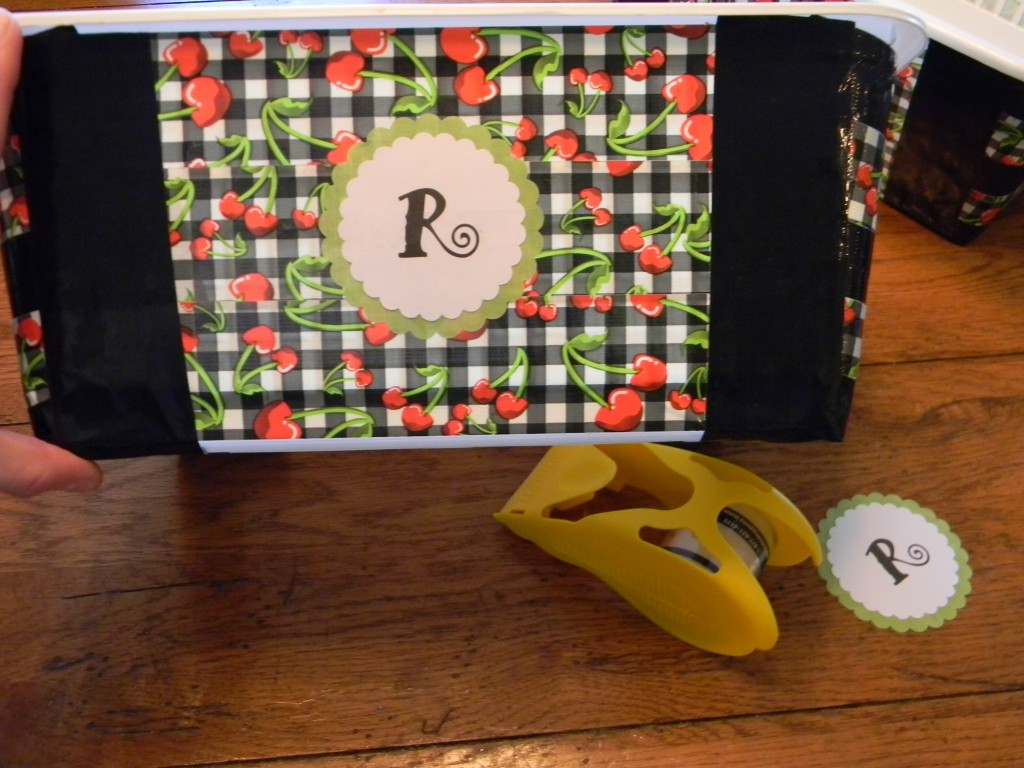 monogrammed duck tape bins