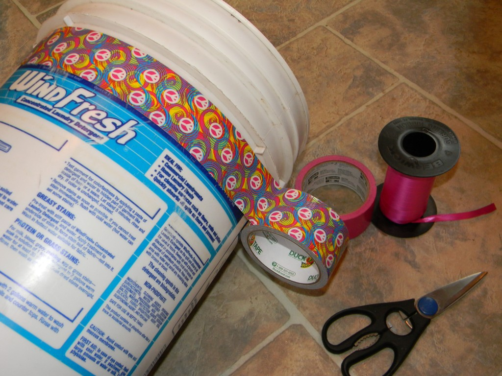 duck tape wrapping paper bin