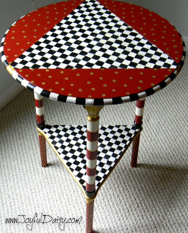 Mackenzie Childs Inspired Table #Painting tips #Mackenzie Childs Knock offs #Mackenzie Childs #Upcycled furniture #trash to treasure