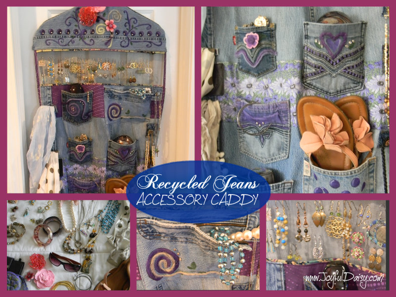 Recycled Jean Hanging Accessory Organizer