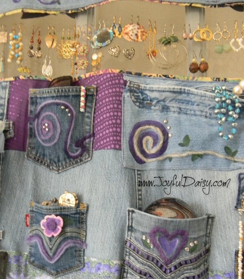 Recycled Jean accessory Organizer close up