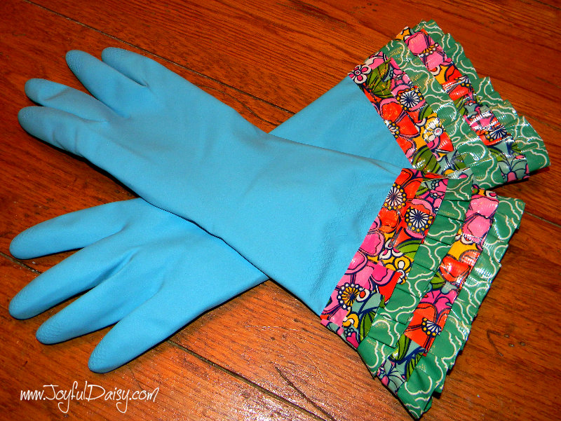 duck tape ruffle gloves