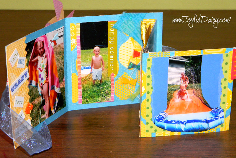 mini scrapbook card open and up
