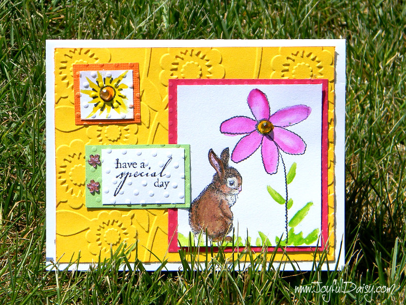 color block rubber stamped card with bunny