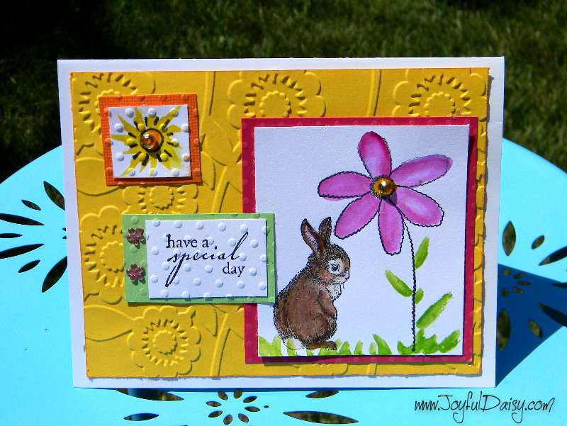 color block stamped card with bunny