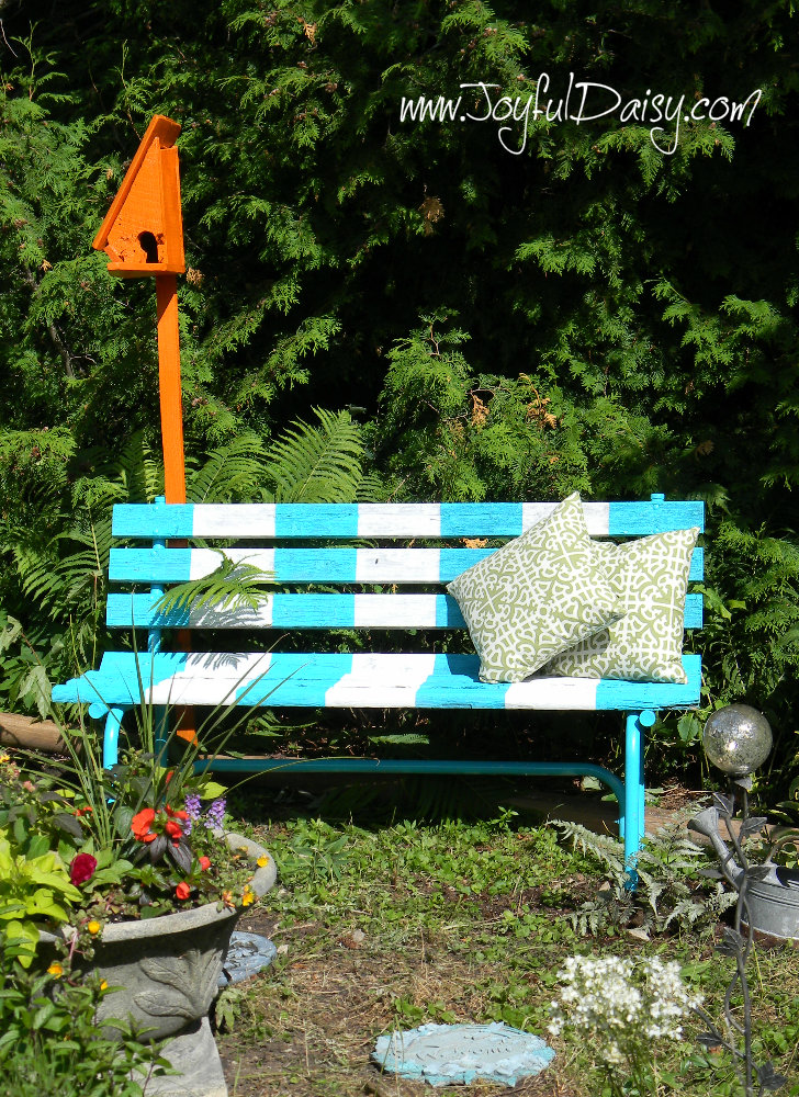 painted bench and birdhouse 3