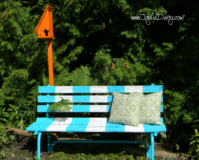 painted bench and birdhouse 5
