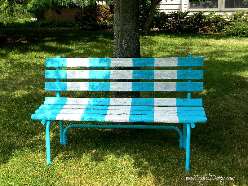 Exceptional Painted Benches Outdoor Part - 14: Painted Bench By Tree