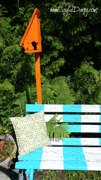 painted bench with birdhouse 1