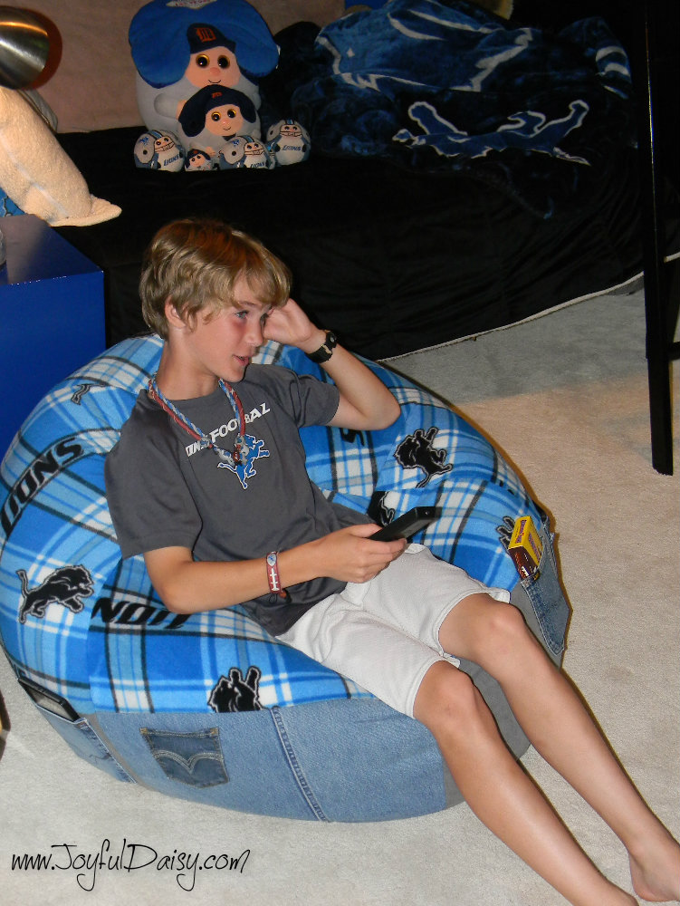 detroit lions fleece and recycled jeans bean bag