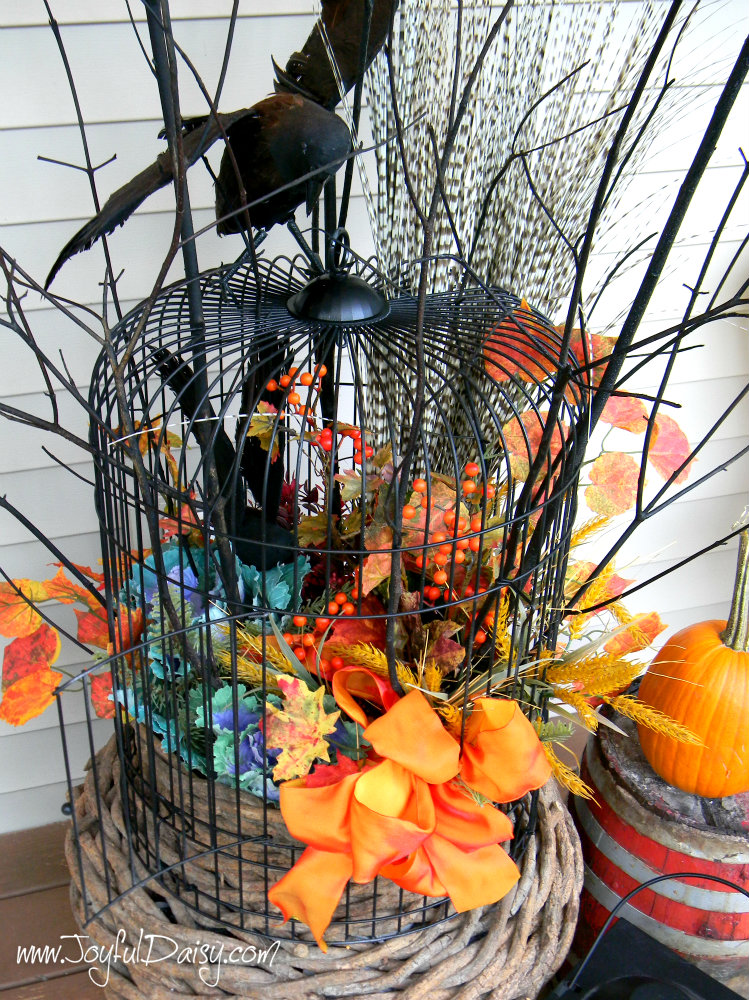 fall porch decor birdcage urn 2