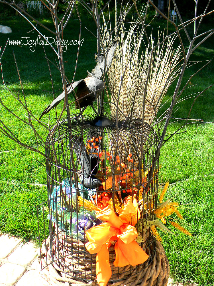 fall porch decor birdcage urn