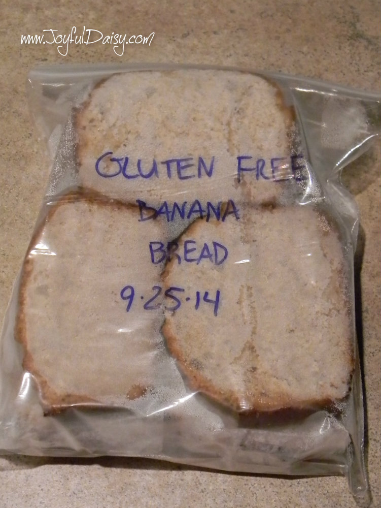 gluten free banana bread packaged for freezer