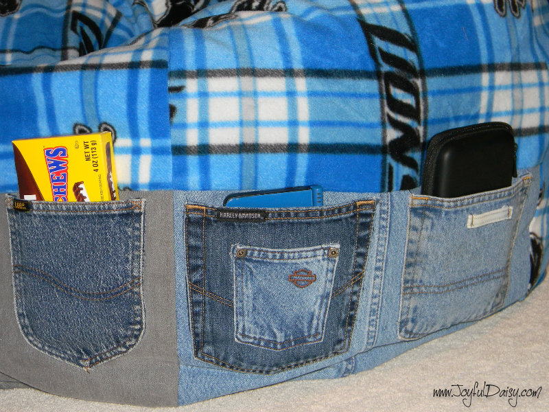 how to make a bean bag with recycled jeans